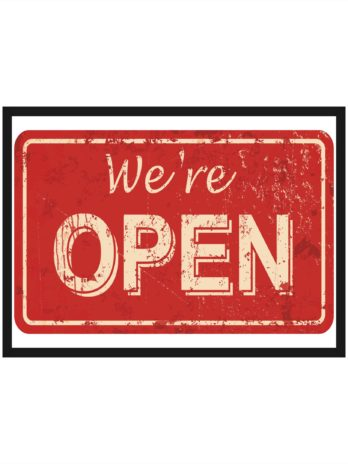 Plakat Napis We're Open